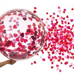 Balon transparent confetti inimioare rosii, diametru 18 inch, latex