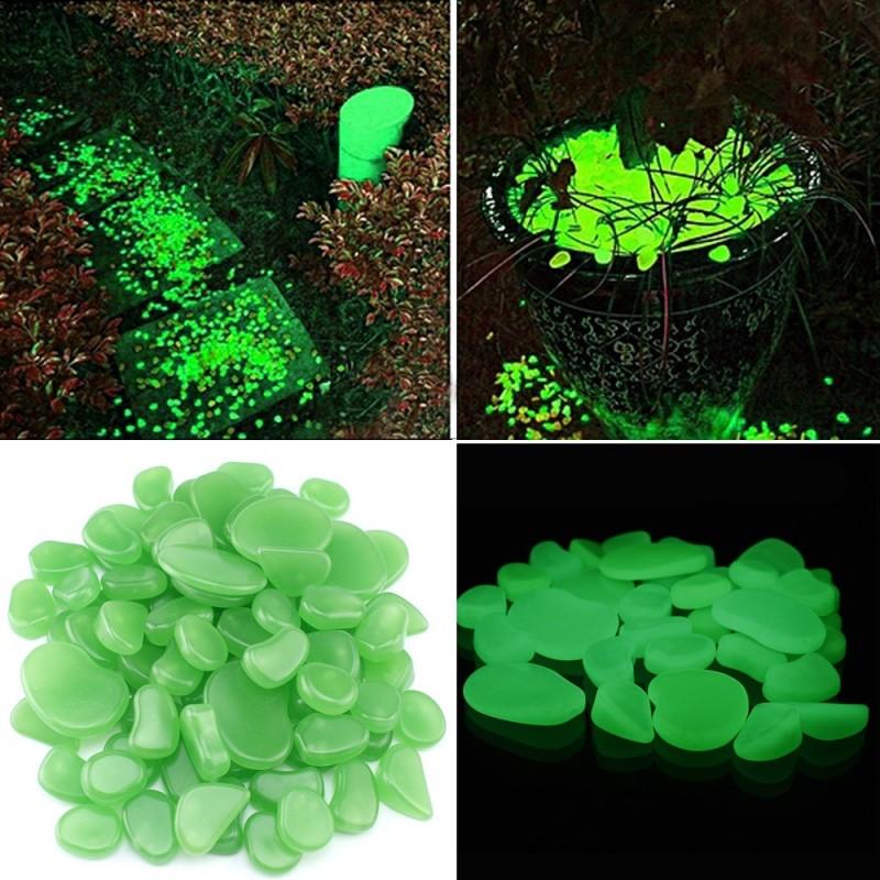 Pietricele fosforescente decorative glow verzi, marimi diferite