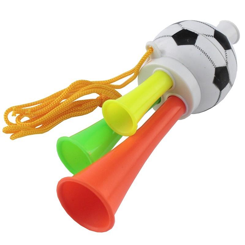 Mini vuvuzela cu 3 trompete, tricolora, 13 cm