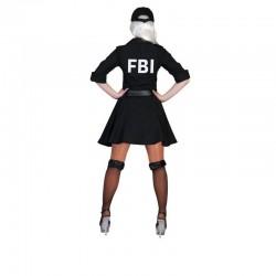 Costum agent FBI dama, rochie, curea, palarie, poliester, negru