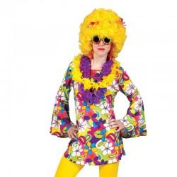 Rochie inflorata Hippie cu maneci lung, poliester, adulti, multicolora