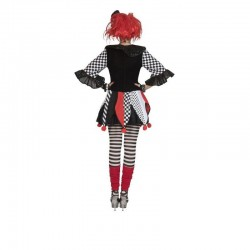 Tunica dama Jester Harlequin, carnaval, material poliester