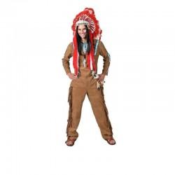 Costum de indian barbati, camasa si pantaloni, poliester, maro