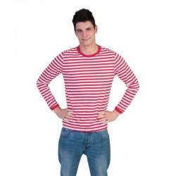 Bluza in dungi unisex, maneca lunga, poliester, rosu-alb