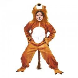 Costum Leul Simba tip salopeta, fetite si baieti, inchidere fermoar, maro-alb