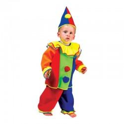 Costum Bobo Clown copii, fetite si baieti, camasa, pantaloni, palarie, multicolor