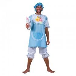 Costum Baby Boy pentru adulti, tunica, pantaloni, boneta, albastru