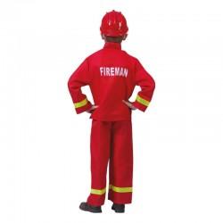 Costum pompierul Sam, camasa, pantaloni, 4-14 ani, rosu