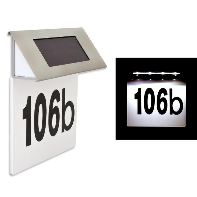 Numar de casa cu incarcare solara, 4 LED-uri, accesorii montare incluse