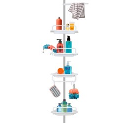 Raft pentru baie, 4 nivele, 3 carlige, suport prosop, inaltime reglabila, alb