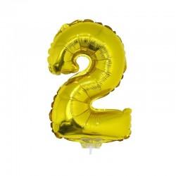 Balon folie model cifra, inaltime 41 cm, aniversare, auriu