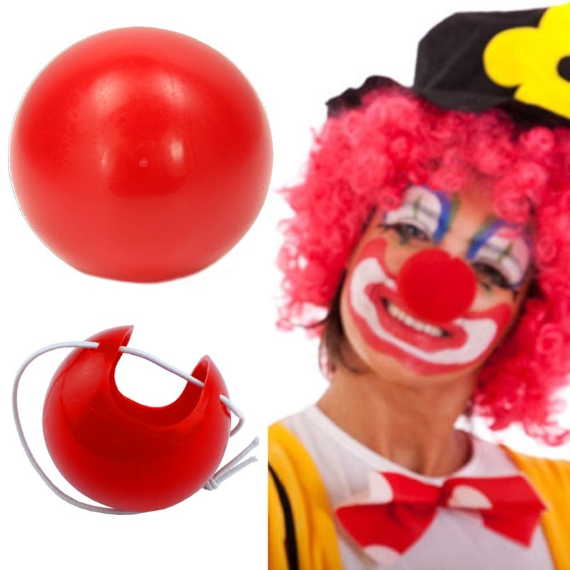 Nas Clown, dimensiuni 4x4 cm, elastic, carnaval, rosu