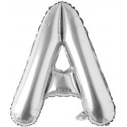 Balon folie litera A, inaltime 41 cm, aer si heliu, argintiu