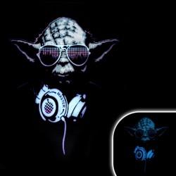 Tricou luminos cu egalizator Yoda, bumbac, negru