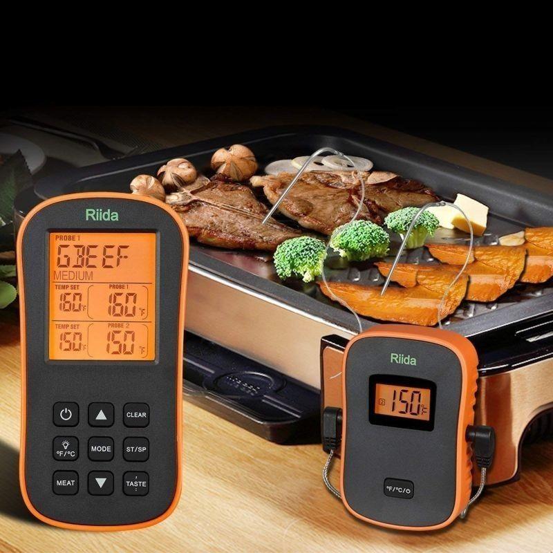 Termometru digital Wireless cu sonda, ecran LCD iluminat, cronometru, Rii