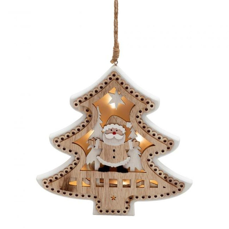 Decoratiune brad din lemn 3D, iluminata LED alb cald, design deosebit