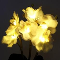 Decoratiune orhidee alba luminoasa, 7 LED-uri alb cald, protectie IP20
