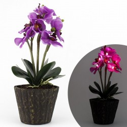 Orhidee decorativa iluminata LED, IP20, inaltime 37 cm, mov
