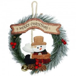 Coronita Merry Christmas, figurina om de zapada, agatatoare, diametru 20cm