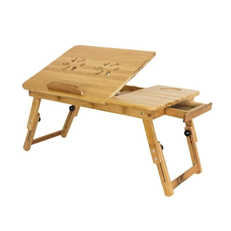 Masuta pliabila pentru laptop, unghi reglabil, bambus, 50x30 cm, sertar