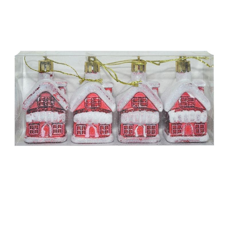 Glob casuta ninsa, set 4 bucati, decoratiune Craciun, rosu-alb