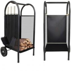 Carucior pentru lemne, accesorii, cadru otel, interior/exterior, negru