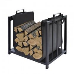 Cos pentru lemne, cadru otel, manere, geanta material textil, negru