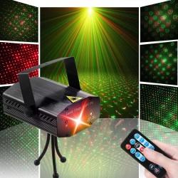 Proiector laser 6 modele, rosu si verde, telecomanda, senzor sunet