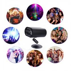 Proiector laser cu 48 efecte luminoase, RGB, senzor sunet, telecomanda