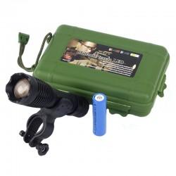 Lanterna LED CREE, 10W, 4 moduri, Zoom, baterie reincarcabila, raza 800m