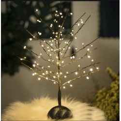 Decoratiune pom luminos, 112 microLED-uri, ramuri flexibile, alb cald, inaltime 40 cm