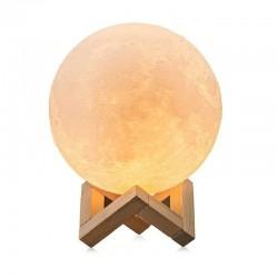 Lampa luna 3D 12cm, lumineaza multicolor, telecomanda, 5 moduri, suport lemn