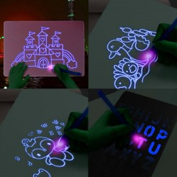 Tablita rescriptibila fosforescenta, lumineaza albastru, breloc UV, interactiva