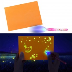 Tablita fosforescenta interactiva, rescriptibila marker UV, lumineaza orange