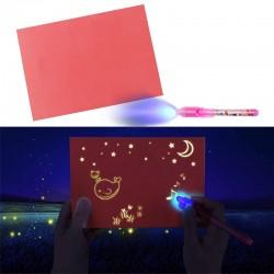 Tablita magica fosforescenta, rescriptibila, lumineaza roz, marker UV