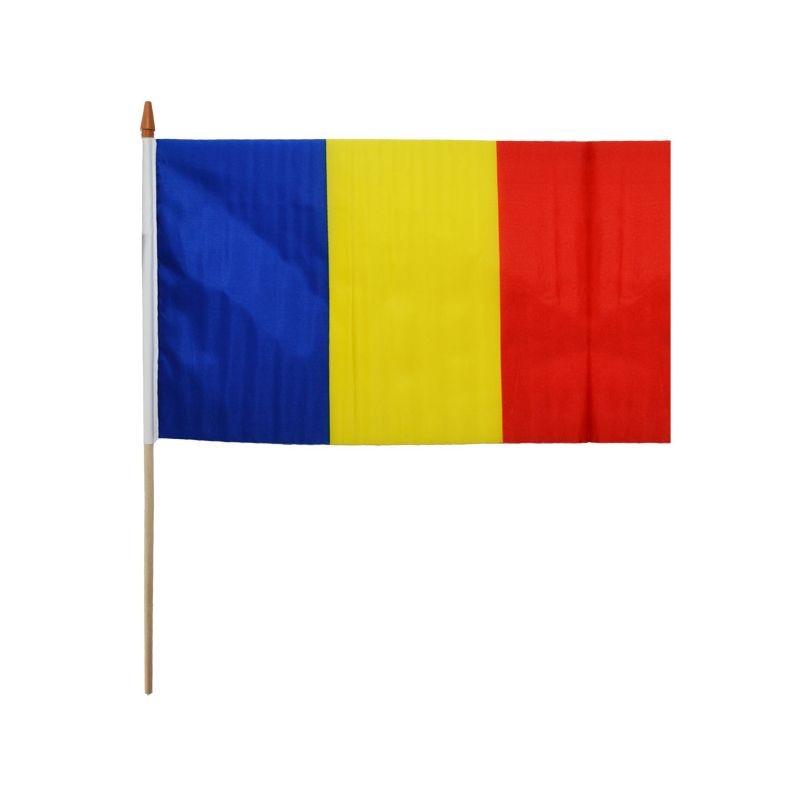 Steag tricolor Romania, panza, 30x45 cm, cu suport de lemn
