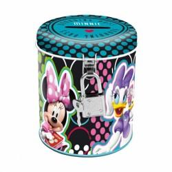 Pusculita Minnie si Daisy metalica, inchidere lacat, forma rotunda, 9 cm