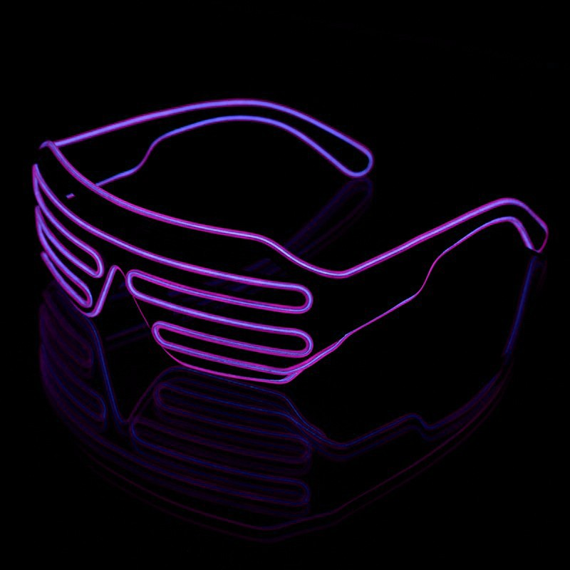 Ochelari Shutter luminosi cu fir El Wire, 3 moduri iluminare, invertor baterii