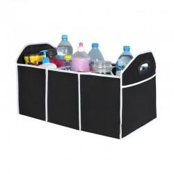 Organizator pliabil cu 3 compartimente, manere, material textil, negru