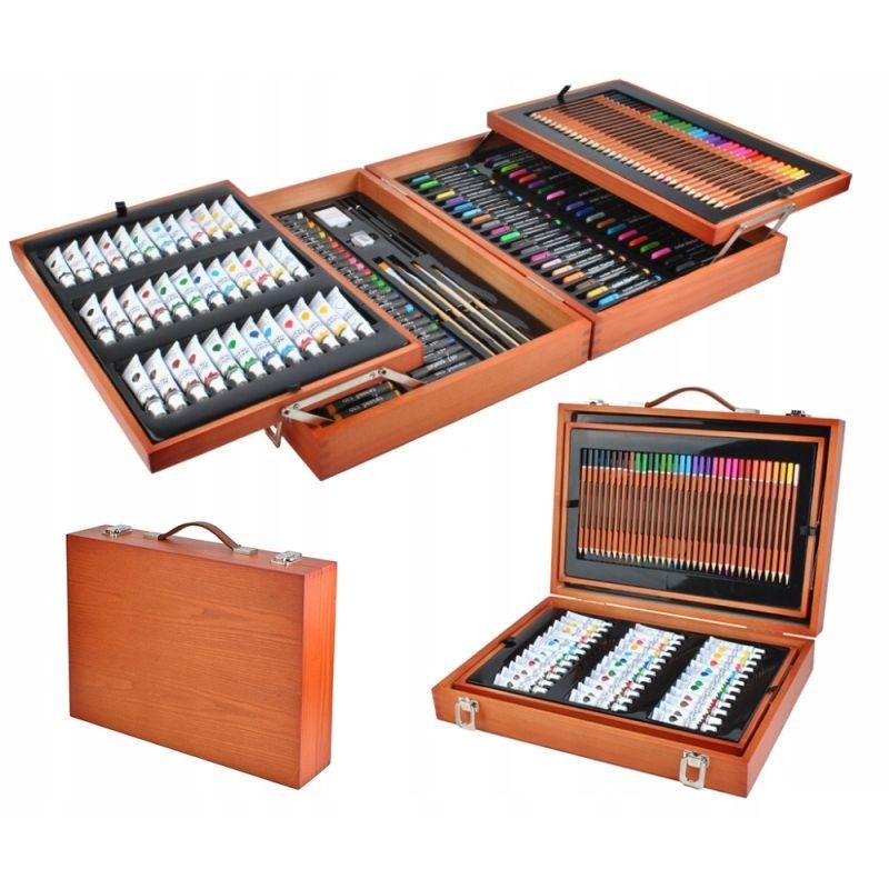 Trusa pictura si desen 174 piese, creioane, vopsea acril, markere, valiza lemn