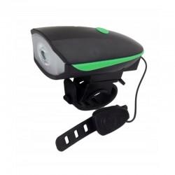 Lanterna LED cu sonerie bicicleta, 100 lm, fixare ghidon, 3 moduri iluminare, rezistenta apa