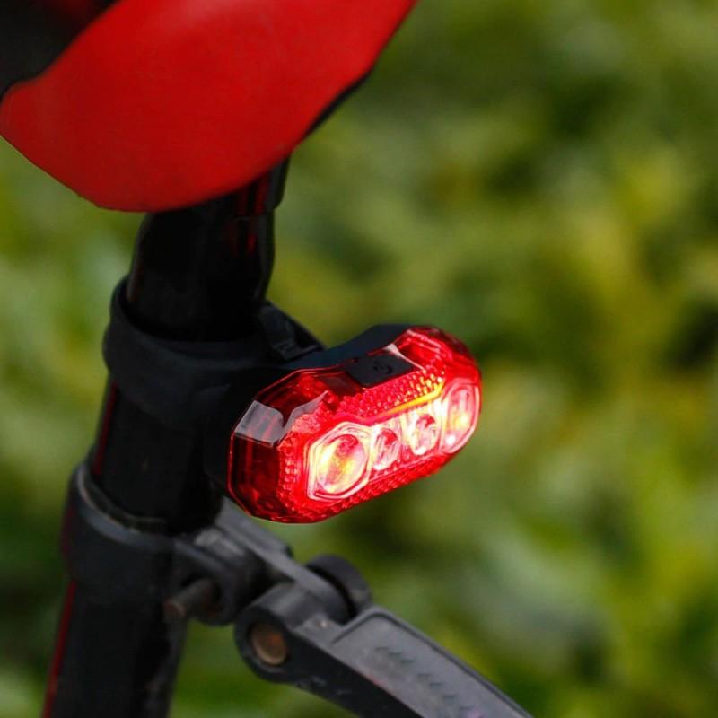 Stop bicicleta 5 LED-uri SMD, 120 lumeni, acumulator reincarcabil USB, 5 moduri lumina