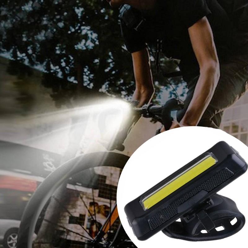 Lanterna bicicleta LED COB 100 lm, acumulator reincarcabil USB, 3 moduri iluminare, fixare ghidon