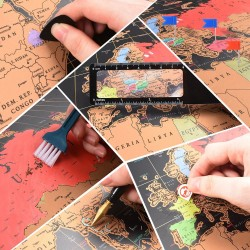 Harta lumii razuibila 82x59 cm, rigla cu lupa, ace atasare foto, stickere incluse