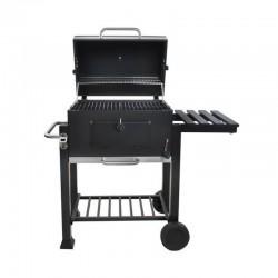 Gratar BBQ pe carbune, capac cu termometru, 2 rafturi, suflanta, cu roti