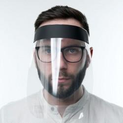 Set 10 masti plastic de tip viziera pentru protectie fata, prindere reglabila, transparent