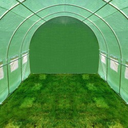 Sera solar 3x2x1.95m pentru gradina, cadru metalic, folie impermeabila, 6 mp, 6 ferestre