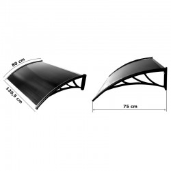 Copertina fixa policarbonat, 120x80 cm, grosime 5 mm, fumuriu, accesorii montare