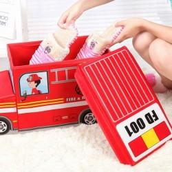 Cutie depozitare jucarii tip masina pompieri, 2 compartimente, pliabila