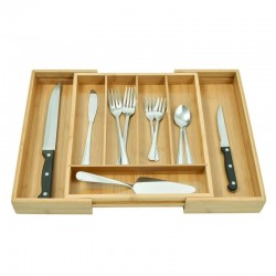 Organizator extensibil pentru tacamuri, lemn bambus, 7 compartimente